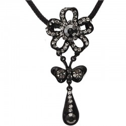 Costume Jewellery Accessories, Fashion Women Girls Small Gift, Grey Diamante Flower Teardrop Pendant Black Chain Necklace