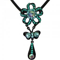 Costume Jewellery Accessories, Fashion Women Girls Small Gift, Aqua Blue Diamante Flower Teardrop Pendant Black Chain Necklace