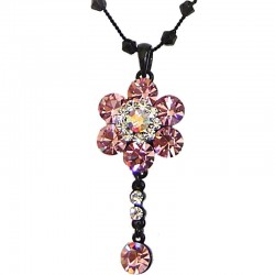 Pink Diamante Cluster Flower bead Sting Necklace