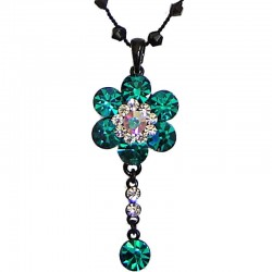 Green Diamante Cluster Flower bead Sting Necklace