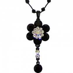 Costume Jewellery Accessories, Fashion Women Girls Small Dainty Gift, Black Diamante Cluster Flower bead Sting Necklace