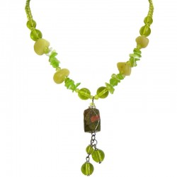 Handcrafted Chic Costume Jewellery Accessoies, Fashion Women Girls Small Gift, Unakite Natural Stone Drop Bead Necklace