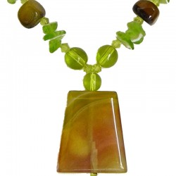 Lime Yellow Rectangle Natural Stone Bead Necklace