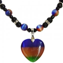 Natural Stone Costume Jewellery Accessoies, Fashion Women Girls Gift, Multi Colour Cats Eye Stone Heart Black Beaded Necklace