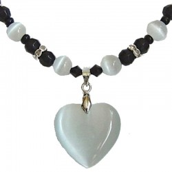 Natural Stone Costume Jewellery Accessoies, Fashion Women Girls Gift, White Cats Eye Stone Heart Black Beaded Necklace