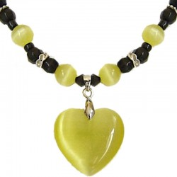 Natural Stone Costume Jewellery Accessoies, Fashion Women Girls Gift, Yellow Cats Eye Stone Heart Black Beaded Necklace
