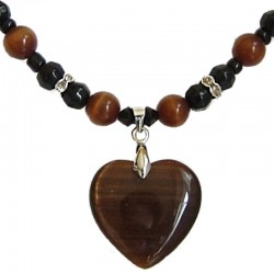 Brown Cats Eye Stone Heart Black Beaded Necklace