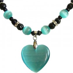 Natural Stone Costume Jewellery Accessoies, Fashion Women Girls Gift, Aqua Cats Eye Stone Heart Black Beaded Necklace