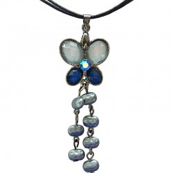 Costume Jewellery Accessories, Fashion Women Dainty Small Gift, Mixed Blue Diamante Butterfly Pearl Drop Cord Necklace