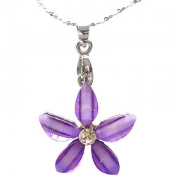 Cute Costume Jewellery Accessories, Fashion Women Teenage Teen Girls Small Gift, Lilac Rhinestone Lucky Flower Pendant Necklace