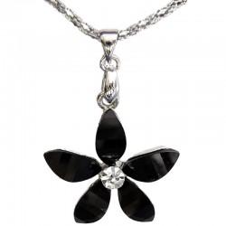 Cute Costume Jewellery Accessories, Fashion Women Teenage Teen Girls Small Gift, Black Rhinestone Lucky Flower Pendant Necklace