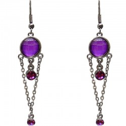 Chic Costume Jewellery, Fashion Young Women Accessories Girls Small Gift, Purple Diamante Circle Drop Earrngs