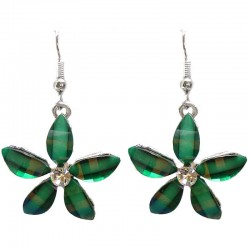 Costume Jewellery Accessories, Fashion Young Women Teenage Teen Girls Small Gift, Green Rhinestone Lucky Flower Drop Earrings