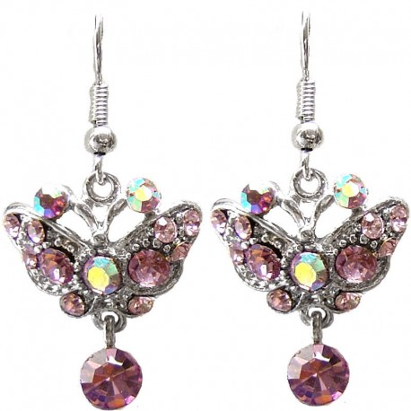 Costume Jewellery Wedding Party Dress Accessories, Fashion Women Girls Small Gift, Lilac Diamante Butterfly Drop Earrings