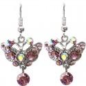 Lilac Diamante Butterfly Drop Earrings
