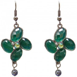 Chic Costume Jewellery Accessories, Fashion Women Girls Small Gift, Green Diamante Luck Flower Grey Pearl Drop Earrings