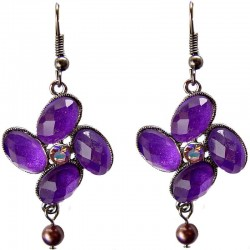 Chic Costume Jewellery Accessories, Fashion Women Girls Small Gift, Purple Diamante Luck Flower Lilac Pearl Drop Earrings
