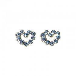 Fashion Women 925 Costume Jewellery, Blue Austrian Crystal Silver Open Heart Stud Earrings