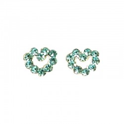 Light Blue Austrian Crystal Silver Open Heart Stud Earrings
