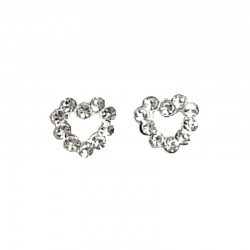 Fashion Women 925 Costume Jewellery, Clear Austrian Crystal Silver Open Heart Stud Earrings