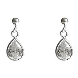 Clear Cubic Zirconia Teardrop CZ Crystal Drop Silver Earrings