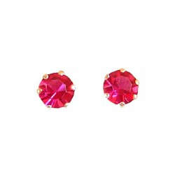 Fuchsia Austrian Crystal 5mm Silver Stud Earrings