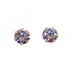 Fashion Women Costume Jewellery, Blue Austrian Crystal 5mm 925 Sterling Silver Stud Earrings