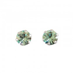 Fashion Women Costume Jewellery, Light Blue Austrian Crystal 5mm 925 Sterling Silver Stud Earrings