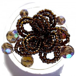 Handmade Bold Statement Bead Costume Jewellery, Handcrafted Fashion Women Girls Gift, Brown Beaded Blossom Flower Ring