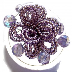 Handmade Bold Statement Bead Costume Jewellery, Handcrafted Fashion Women Girls Gift, Purple Beaded Blossom Flower Ring