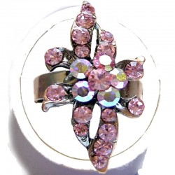 Feminine Statement Costume Jewellery, Fashion Young Women Girls Gift, Pink Diamante Flower Copper Ring