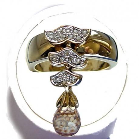 Fashion Young Women Girls Gift, Costume Jewellery rings, Dangle Crystal Teardrop Cubic Zirconia CZ Goldtone Dress Band Ring