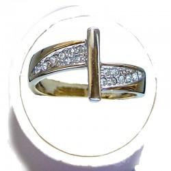 Clear Diamante Silver Bar Gold Tone Dress Ring