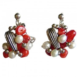 Red Coral Twist Earrings