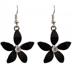 Costume Jewellery Accessories, Fashion Young Women Teenage Teen Girls Small Gift, Black Rhinestone Lucky Flower Drop Earrings