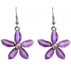 Costume Jewellery Accessories, Fashion Young Women Teenage Teen Girls Small Gift, Lilac Rhinestone Lucky Flower Drop Earrings