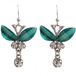 Cute Costume Jewellery Accessories, Fashion Young Women Girl Small Gift, Green Rhinestone Butterfly Clear Diamante Drop Earrings