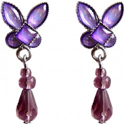 Costume Jewellery Accessoies, Fashion Women Small Dainty Gift, Purple Rhinestone Butterfly Teardrop Bead Short Drop Earrings