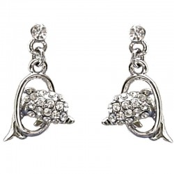 Cute Fashion Costume Jewellery, Girls Gift, Simple Clear Diamante Dolphin Dainty Drop Earrings