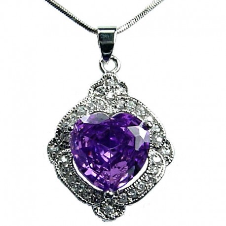 Women's Costume Jewellery, Girlfriend Gift, Purple CZ Love Heart Rhombus Fashion Pendant Necklace