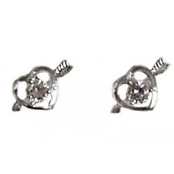 Simple Small Costume Jewellery Mini Earring Studs, Fashion Women Girls Accessories, Clear Diamante Love in Heart Stud Earrings