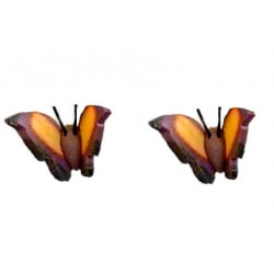 Small Costume Jewellery Studs Rubber Stoppers, Cute Girls Accessories, Brown & Yellow 3D Butterfly Plastic Pin Stud Earrings