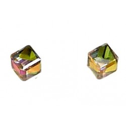 Simple Small Costume Jewellery Mini Earring Studs, Fashion Women Girls Accessories, Green Rainbow Diamante 3D Cube Stud Earrings