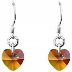 Fashion Women Costume Jewellery, Amber Crystal Heart Sterling Silver 925 Hook Drop Earrings