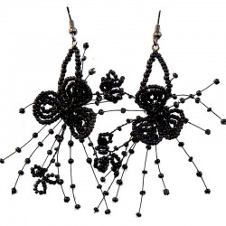 Black Floating Bead Flower Drop Earrings