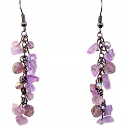Classic Handcrafted Beaded Costume Jewellery, Fashion Women Gift, Bright Flourite Tumblechip Lilac Bead Dangling Earrings