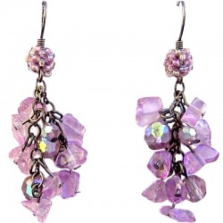 Bright Flourite Tumblechip Red Bead Cluster Drop Earrings
