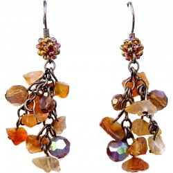 Handcrafted Beaded Classic Costume Jewellery, Fashion Women Gift, Carnelian Tumblechip Brown Bead Cluster Drop Earrings