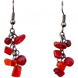 Handcrafted Beaded Costume Jewellery, Fashion Women Gift, Red Natural Stone Tumblechip Red Bead Short Drop Earrings