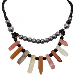 Costume Jewellery for Her, Women Anniversary Gift, Multi-Coloured Natural Stone Grey Pearl Black Bead Statement Necklace